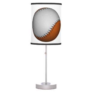 White and Orange Baseball Table Lamp