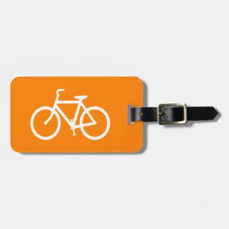 White and Orange Bike Bag Tag