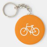 White and Orange Bike Basic Round Button Keychain