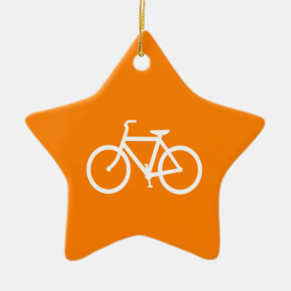 White and Orange Bike Double-Sided Star Ceramic Christmas Ornament