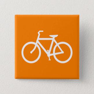 White and Orange Bike Pinback Button