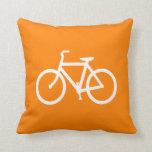 White and Orange Bike Throw Pillows
