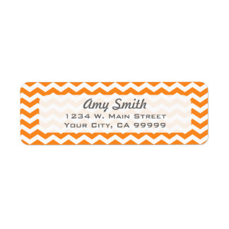 White and Orange Chevron Return Address Labels