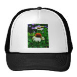 White and Orange ConeFlowers Trucker Hats