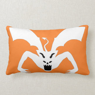 White And Orange Devil Lumbar Pillow