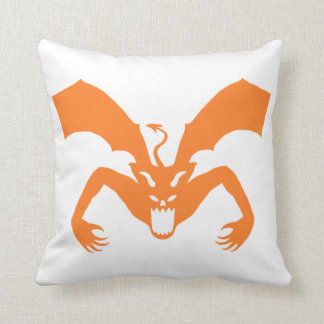 White And Orange Devil Throw Pillow