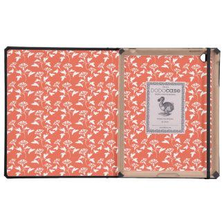white and orange flower pattern iPad case