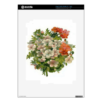 White and Orange Flowers Skin For iPad 2
