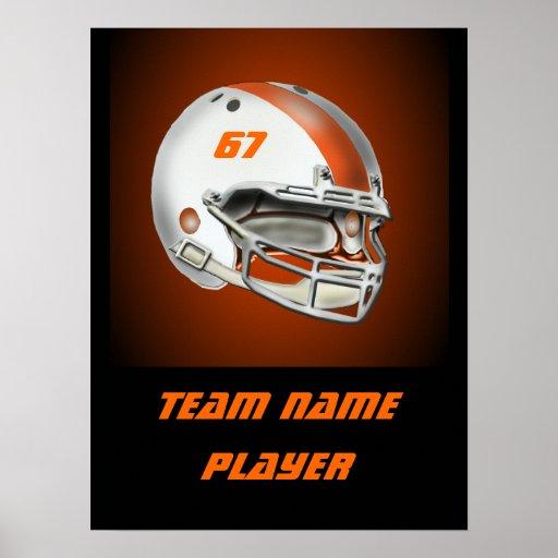 White and Orange Football Helmet Poster