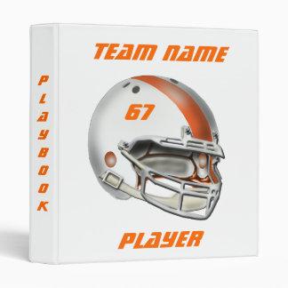 White and Orange Football Helmet Vinyl Binder