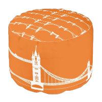 White and Orange London Bridge Silhouette Pouf