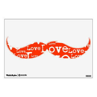 White and Orange Love Text Mustache Wall Decal