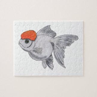 White and Orange Oranda Goldfish Aquarium Pet Fish Jigsaw Puzzle