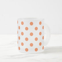 White and Orange Polka Dot Frosted Glass Coffee Mug