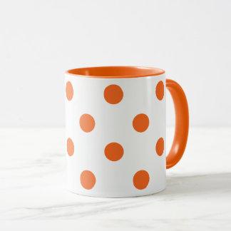 White and Orange Polka Dot Mug