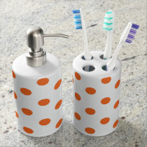 White and Orange Polka Dot Soap Dispenser And Toothbrush Holder
