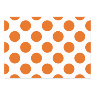 White and Orange Polka Dots Large Business Card