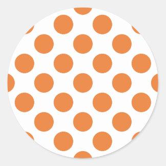 White and Orange Polka Dots Round Stickers