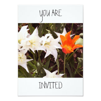 White and Orange Tulips You Are Invited Card