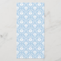 White and Pale Blue Damask Design.