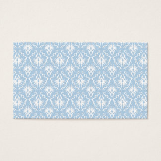 White and Pale Blue Damask Design. Business Card