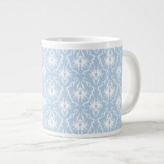 White and Pale Blue Damask Design. Jumbo Mug