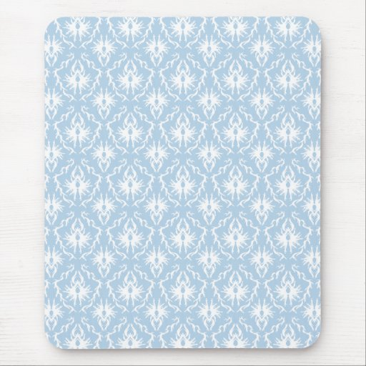 White and Pale Blue Damask Design. Mouse Pads