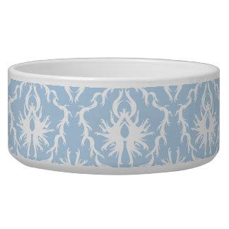 White and Pale Blue Damask Design. Dog Food Bowls