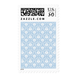 White and Pale Blue Damask Design. Postage