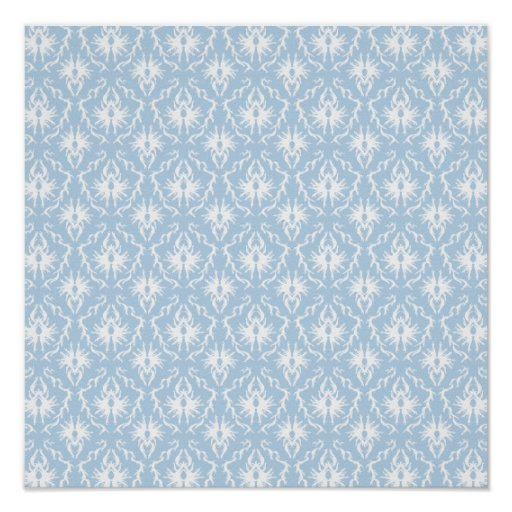 White and Pale Blue Damask Design. Poster