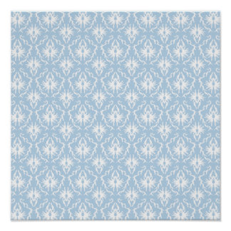 White and Pale Blue Damask Design. Print