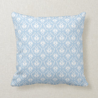 White and Pale Blue Damask Design. Throw Pillow