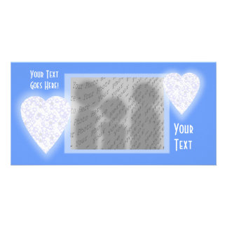 White and Pale Blue Heart. Patterned Heart Design. Card