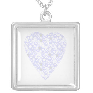White and Pale Blue Heart. Patterned Heart Design. Square Pendant Necklace