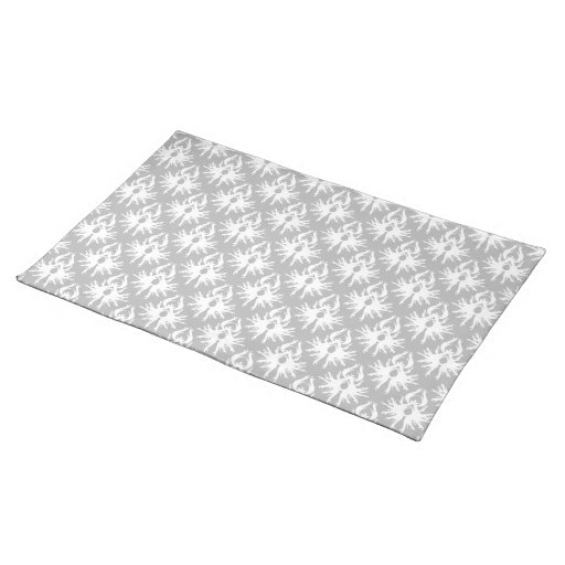 White and Pale Gray Damask Pattern. Cloth Placemat