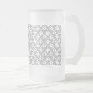 White and Pale Gray Damask Pattern. Coffee Mugs