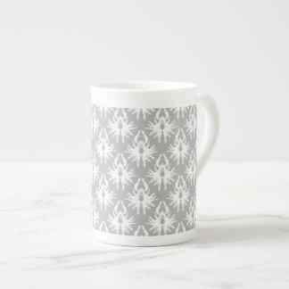 White and Pale Gray Damask Pattern. Bone China Mugs