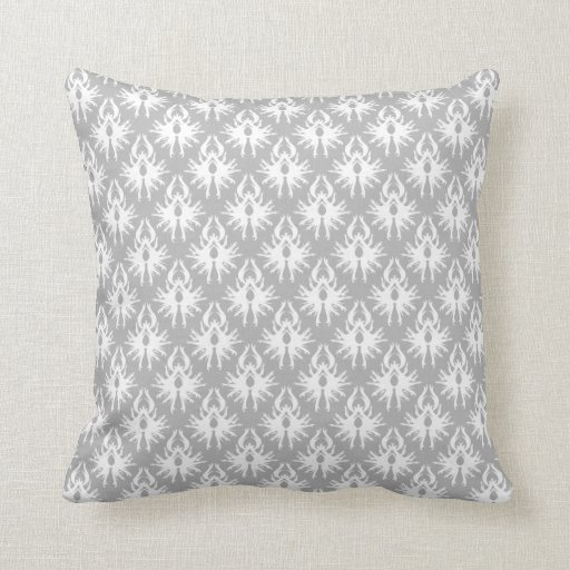 White and Pale Gray Damask Pattern. Throw Pillow