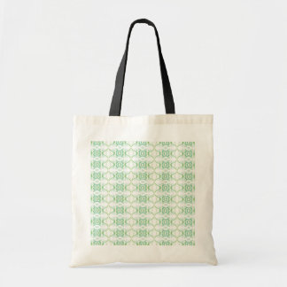White and Pale Green Flower Pattern. Budget Tote Bag