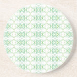 White and Pale Green Flower Pattern. Beverage Coaster