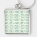 White and Pale Green Flower Pattern. Keychain
