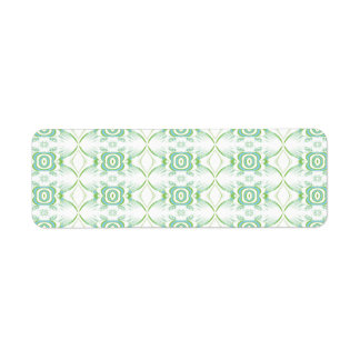 White and Pale Green Flower Pattern. Label