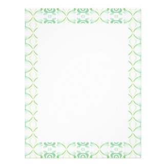 White and Pale Green Flower Pattern. Letterhead