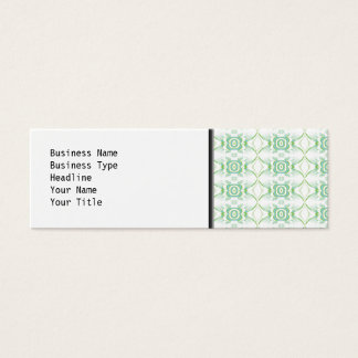 White and Pale Green Flower Pattern. Mini Business Card