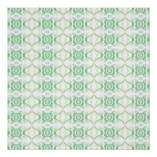 White and Pale Green Flower Pattern. Poster