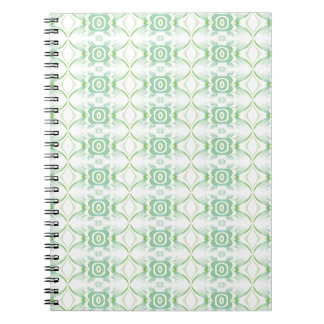 White and Pale Green Flower Pattern. Spiral Note Books