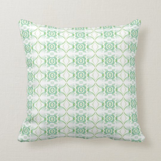 White and Pale Green Flower Pattern. Throw Pillow
