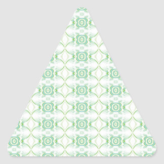 White and Pale Green Flower Pattern. Triangle Sticker