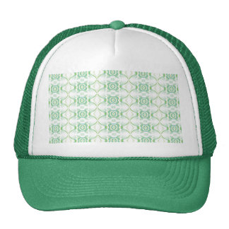 White and Pale Green Flower Pattern. Trucker Hat