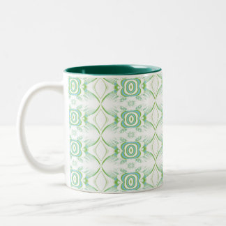 White and Pale Green Flower Pattern. Two-Tone Coffee Mug